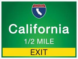 Highway signs before the exit To California state information and maps vector