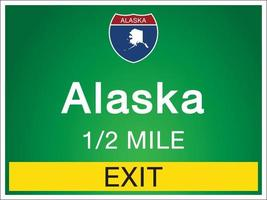 Signage on the highway in Alaska state information and maps vector