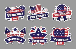 Happy Veterans Sticker Set vector