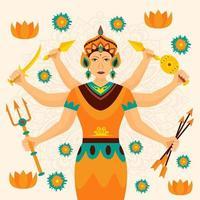 Celebration of Durga Puja Concept vector