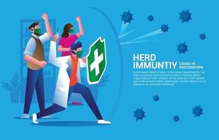 Covid 19 inmunidad colectiva vector