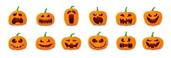 halloween monstruo jack lantern calabaza naranja tallada conjunto de cara de miedo vector