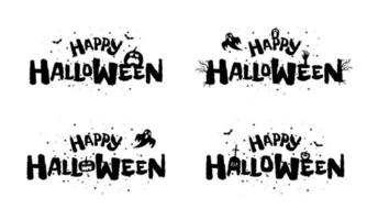feliz halloween fiesta vacaciones diseño de letras dibujadas a mano vector
