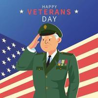 feliz dia de los veteranos de américa vector