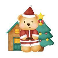 Watercolor  christmas card with cute teddy bear. vector