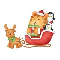Watercolor tiger christmas card vector