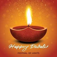 Happy diwali festival celebration card background vector