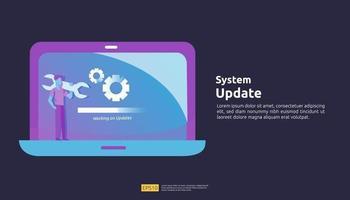 actualización de datos sincronizar el proceso y la ilustración del programa de instalación vector