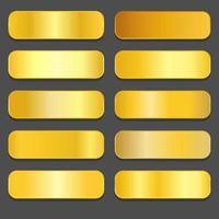 Yellow gold gradients. Golden metallic gradients vector