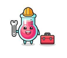 Mascot cartoon of laboratory beaker as a mechanic vector
