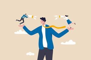 voz del empleado, escuchar la opinión o idea de un colega, creer en la verdad vector