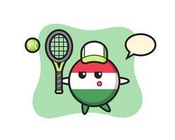 personaje de dibujos animados de la insignia de la bandera de hungría como ten vector