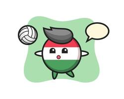 Character cartoon of hungary flag badge is playing volleyball vector