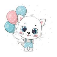 lindo gato bebé con globos. ilustración vectorial. vector