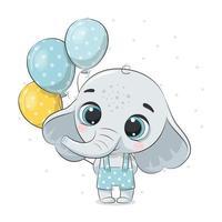 lindo bebé elefante con globos. ilustración vectorial. vector
