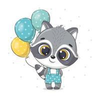 lindo mapache bebé con globos. ilustración vectorial. vector