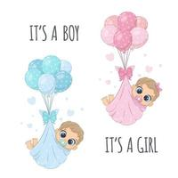 Cute babies in diapers on the balloons. vector