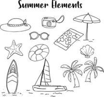 Summer Elements hand draw vector