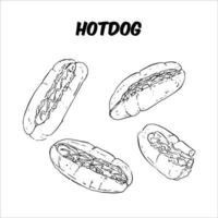 Different views of Hotdog, Black and white sktech vector
