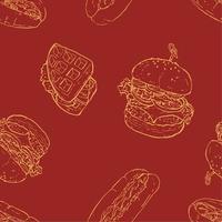 Fastfood sketch seamless background, Burger, Waffle, Hotdog vector