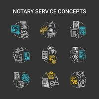 Notary services chalk RGB color concept icons set vector