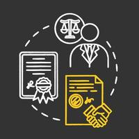 Powers of attorney chalk RGB color concept icon vector