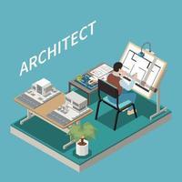 arquitecto en la composición del trabajo vector