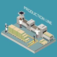 composición de la línea de producción de aceitunas vector