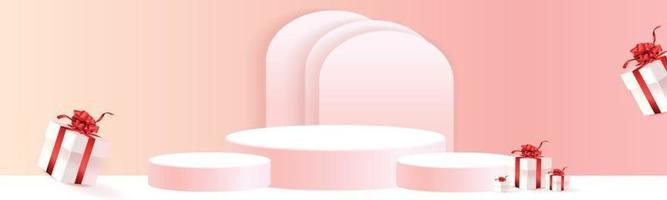 podium product stand for christmas event pink paper art vector
