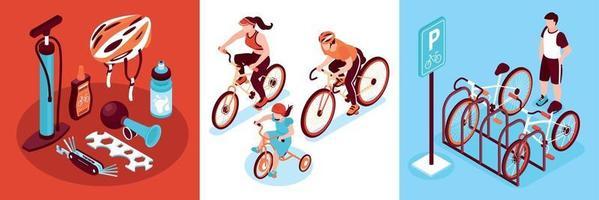 concepto de diseño de bicicleta isométrica vector