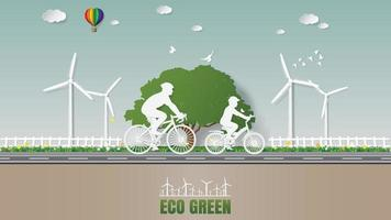 Father and son are riding bicycle in nature which full of wind turbine vector