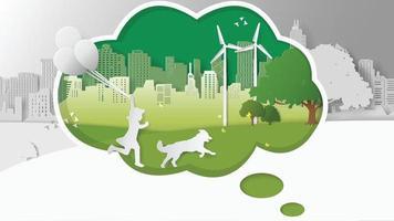 Green renewable technology power saving environmentally oncepts vector