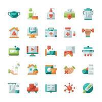 conjunto de iconos de cuarentena con estilo plano. vector