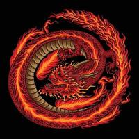 Fire Chinese Red Dragon Illustration vector