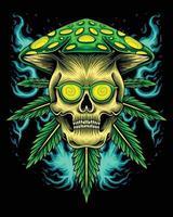 Marijuana skull with mushroom head vector
