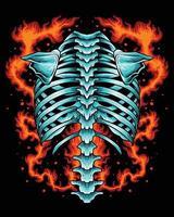 Back bone skeleton on fire vector