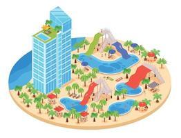 composición redonda del parque acuático vector
