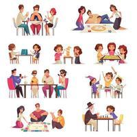 People Board Games Icon Set vector
