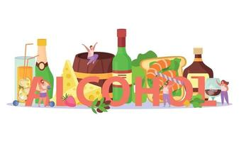 Alcoholic Cocktails Flat Composition vector
