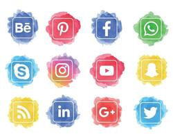 Set of watercolor social media icons with square shapes vector