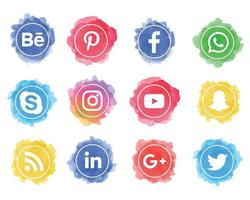 Set of watercolor social media icons with circle shapes vector