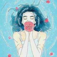 Ilustración acuarela de mujer en el agua con una rosa en sus manos vector