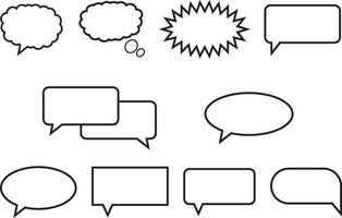 Simple speech bubbles  line Icons vector