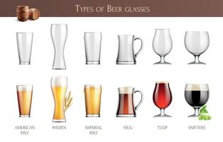 Beer Glasses Realistic Infographics vector