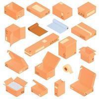 conjunto de iconos de cajas de cartón vector