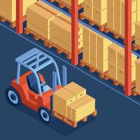 Warehouse Forklift Isometric Composition vector