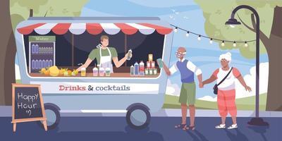 Cool Drink Street Flat Concept vector