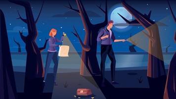 Treasure Hunt Flat Illustration vector