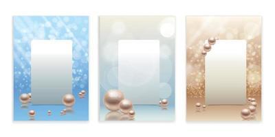 Pearls Frame Backgrounds Set vector