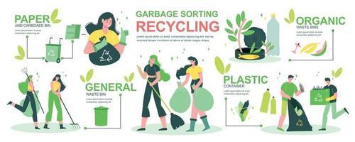 clasificación de basura reciclaje infografía vector
